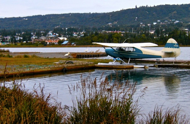 Aeronca Sedan Docked Outside Lakeside Cabin Homer Alaska